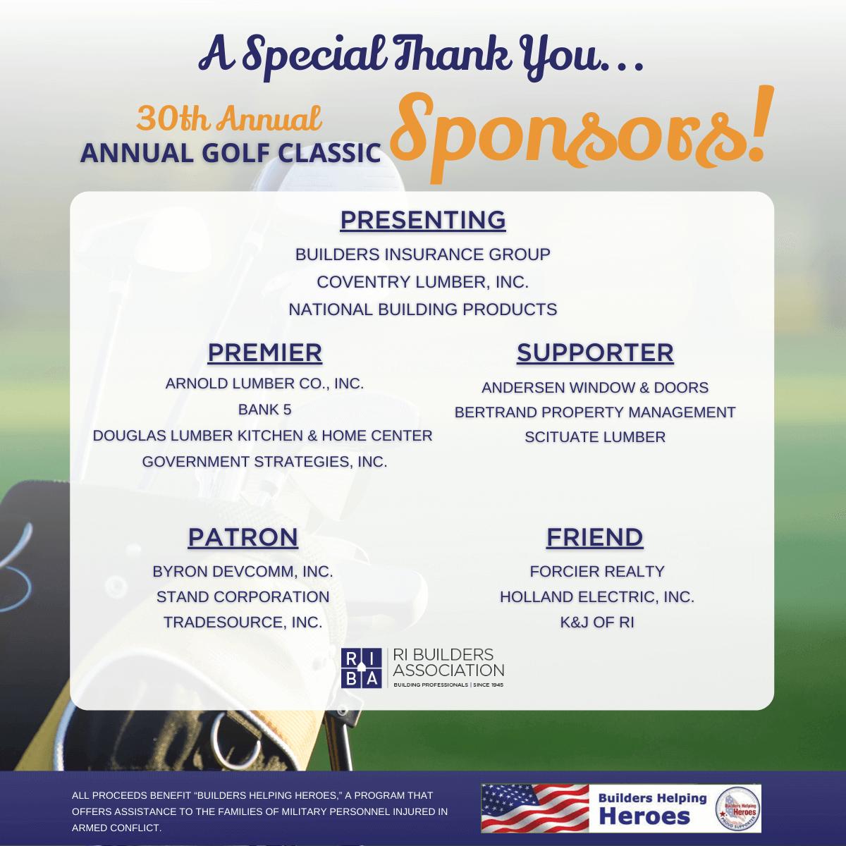 Golf Classic Sponsors